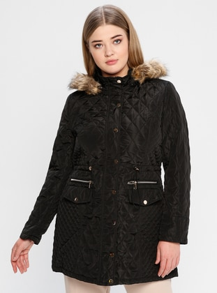 Black - Fully Lined - Polo neck - Coat - PIQUE