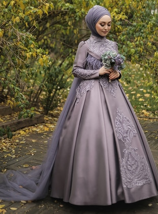 Lilac - Fully Lined - Crew neck - Muslim Evening Dress - My Dream Collection