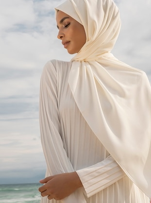Cream - Plain - Shawl - Şal