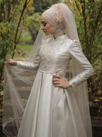 Beige - Fully Lined - Crew neck - Muslim Evening Dress - My Dream Collection