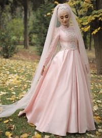 Powder - Fully Lined - Crew neck - Muslim Evening Dress - My Dream Collection