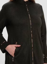 Khaki - Crew neck - Unlined - Plus Size Abaya