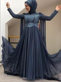 Indigo - Fully Lined - Crew neck - Muslim Evening Dress - My Dream Collection