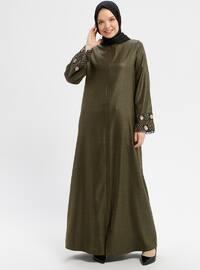 Khaki - Unlined - Crew neck - Abaya