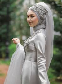 Gray - Fully Lined - Crew neck - Muslim Evening Dress - My Dream Collection