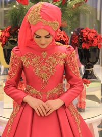 Fuchsia - Fully Lined - Crew neck - Muslim Evening Dress - My Dream Collection
