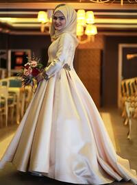 Gold - Fully Lined - Crew neck - Muslim Evening Dress - My Dream Collection