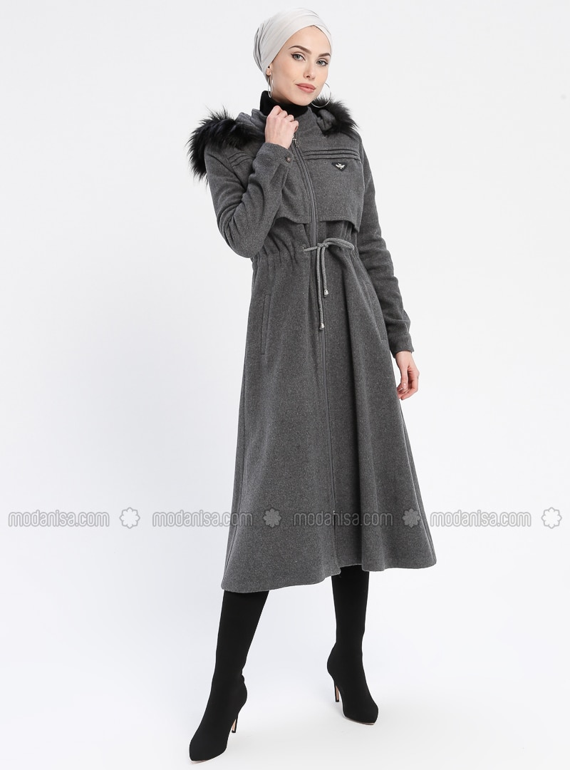 Gray - Unlined - Crew neck - Coat