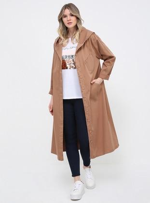 Camel - Unlined - Cotton - Plus Size Coat