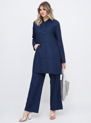 Blue - Unlined - Cotton - Denim - Plus Size Suit