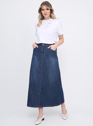 Blue - Unlined - Cotton - Denim - Plus Size Skirt - Alia