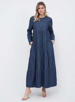 Blue - Unlined - Crew neck - Cotton - Denim - Plus Size Dress