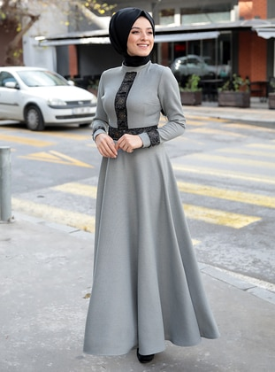 Gray - Polo neck - Unlined - Dresses