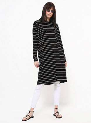 Black - White - Stripe - Crew neck - Viscose - Tunic