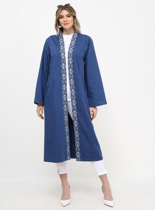 Blue - Unlined - Cotton - Plus Size Coat
