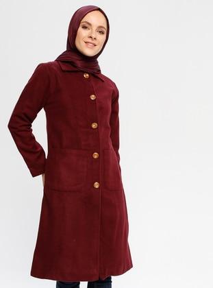 Maroon - Fully Lined - Point Collar - Viscose - Coat
