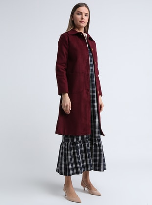 Maroon - Fully Lined - Point Collar - Viscose - Coat