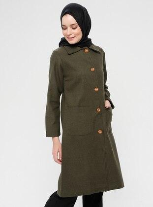 Khaki - Fully Lined - Point Collar - Viscose - Coat