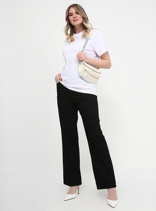 Black - Cotton - Denim - Plus Size Pants