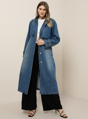 Blue - Unlined - Shawl Collar - Cotton - Denim - Plus Size Trench coat - Alia