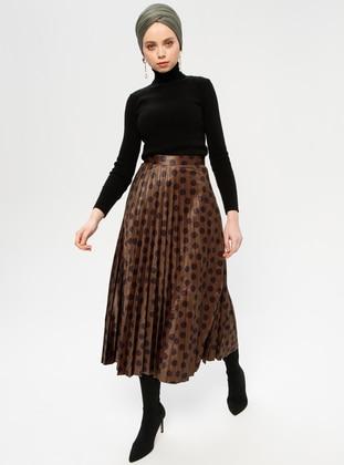 Khaki - Polka Dot - Fully Lined - Skirt