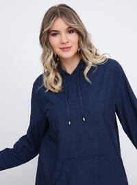 Blue - Unlined - Cotton - Denim - Plus Size Suit