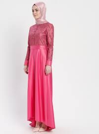 Fuchsia - Unlined - Crew neck - Cotton - Muslim Evening Dress