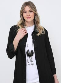 Black - Point Collar - Cotton - Denim - Plus Size Tunic