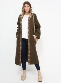 Khaki - Unlined - Cotton - Plus Size Coat