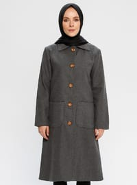 Smoke-coloured - Fully Lined - Point Collar - Viscose - Coat