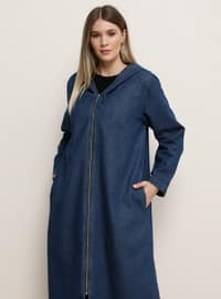 Blue - Unlined - Cotton - Denim - Plus Size Coat