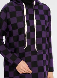Purple - Checkered -  - Tunic