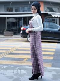 Maroon - Checkered - Sweatheart Neckline - Unlined - Dresses