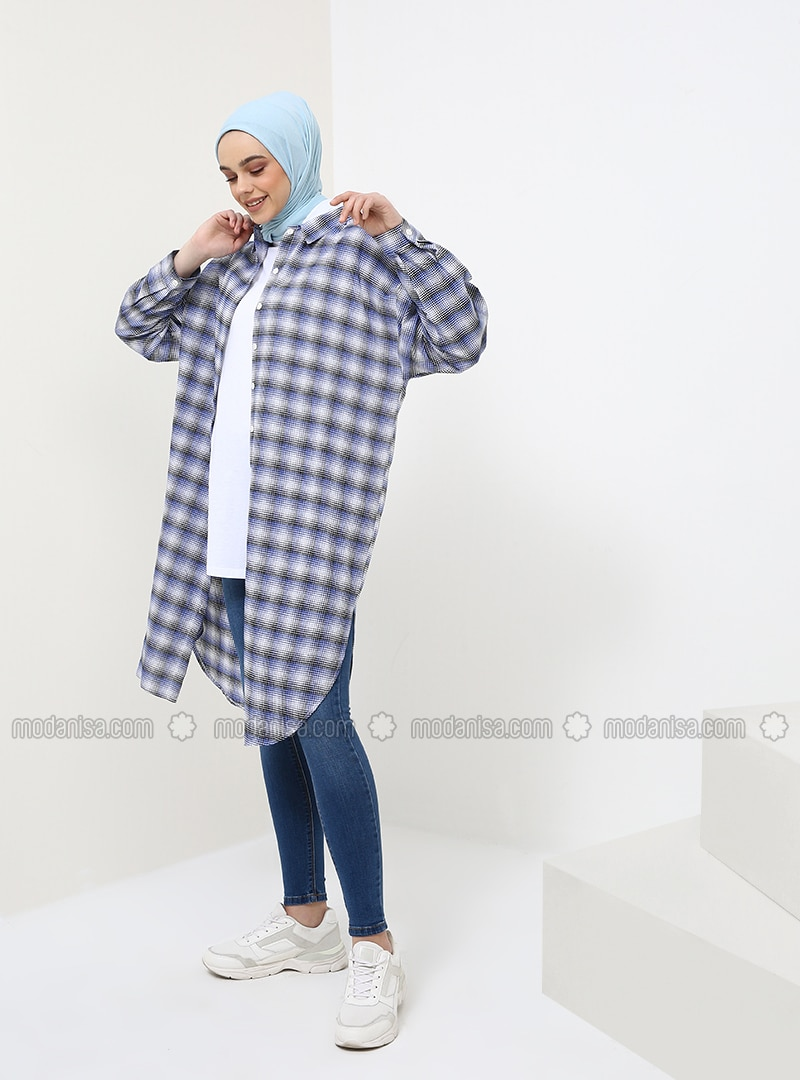 Navy Blue - Checkered - Point Collar - Cotton - Tunic
