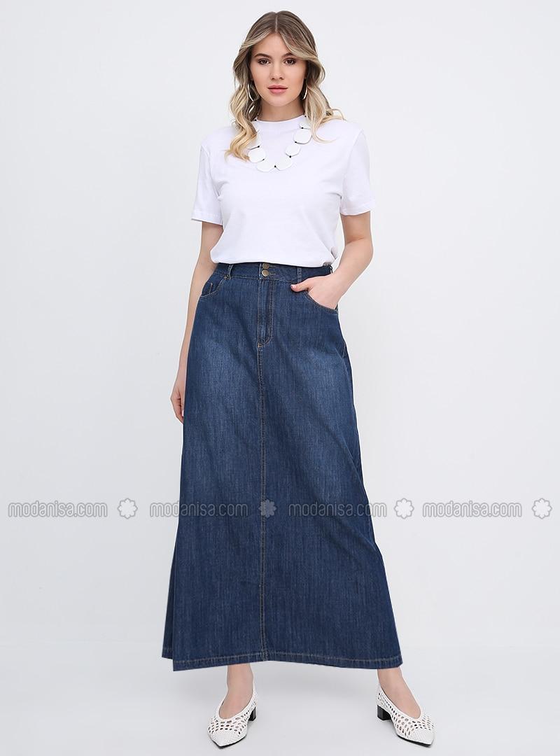 Blue - Unlined - Cotton - Denim - Plus Size Skirt