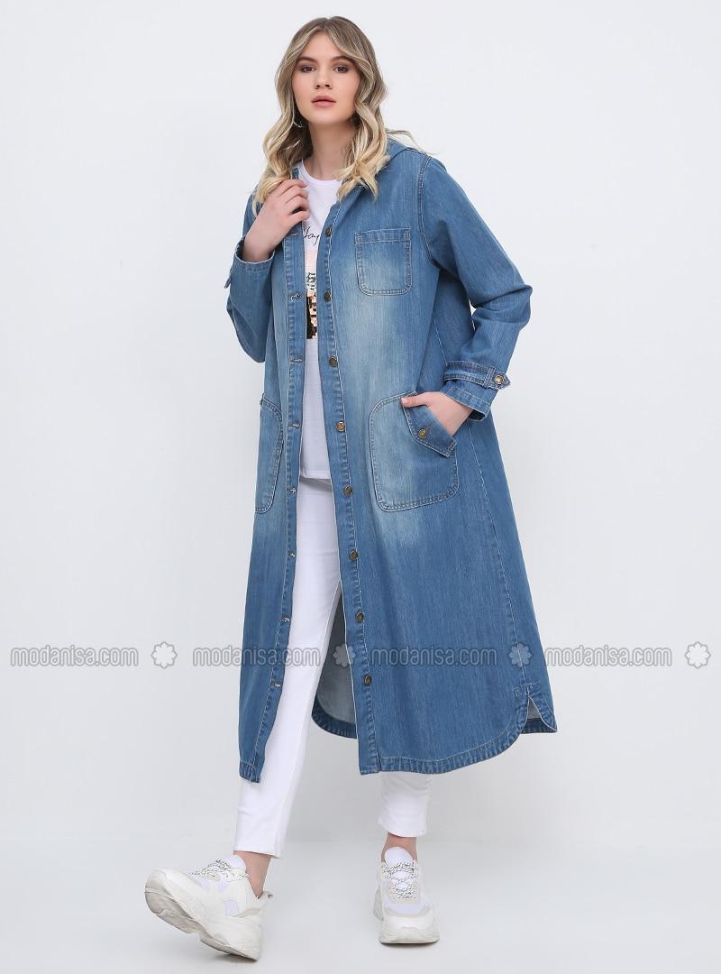 Blue - Unlined - Cotton - Denim - Plus Size Coat