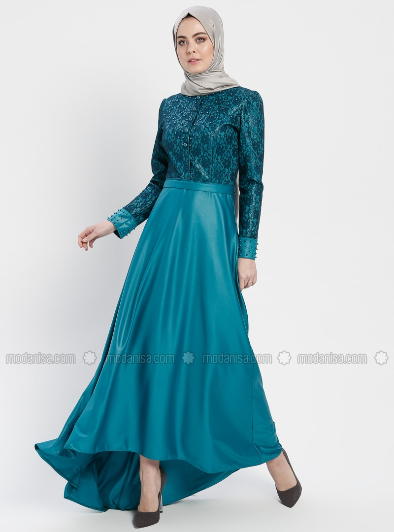 Petrol - Unlined - Crew neck - Cotton - Muslim Evening Dress