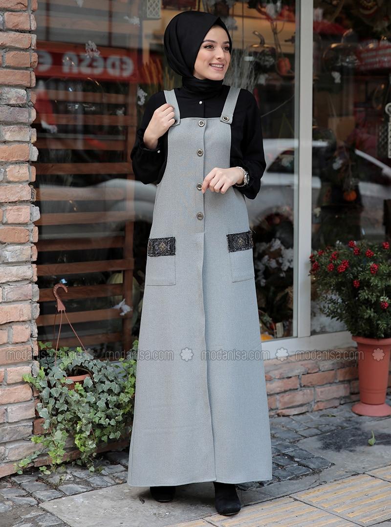 Gray - Unlined - Dresses
