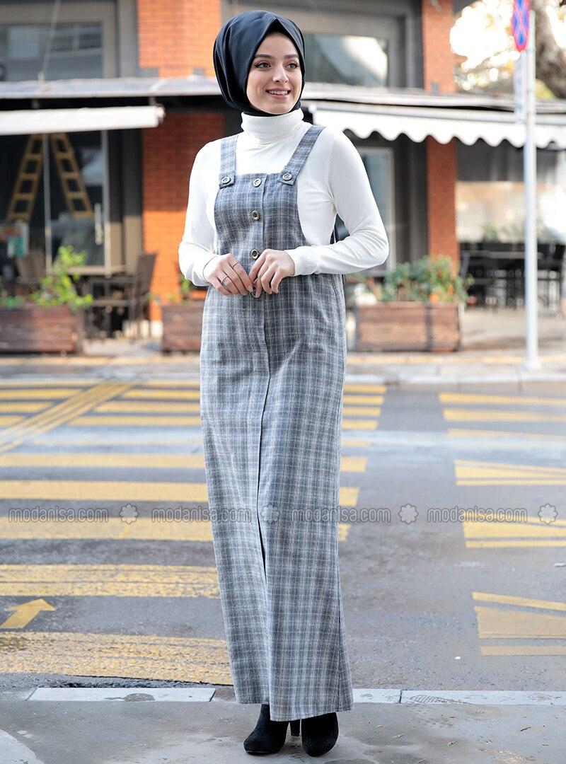 Gray - Checkered - Sweatheart Neckline - Unlined - Dresses