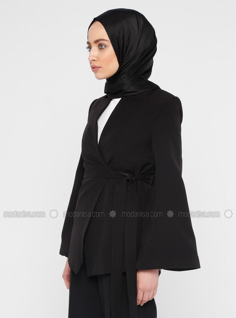 3a75125e956ef Kolu Yırtmaçlı Ceket - Siyah