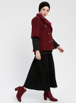 Black - Maroon - Unlined - Shawl Collar - Puffer Jackets