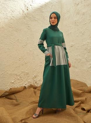 Emerald - Stripe - Crew neck - Unlined - Cotton - Dresses