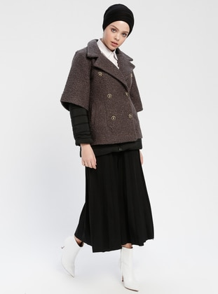 Anthracite - Unlined - Shawl Collar - Puffer Jackets - Meryem Acar