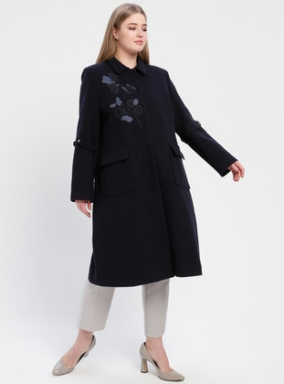 Navy Blue - Fully Lined - Plus Size Overcoat - TUĞBA