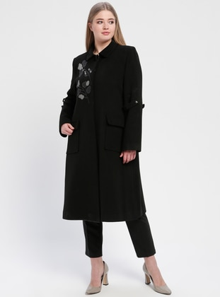 Black - Fully Lined - Plus Size Overcoat - TUĞBA