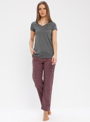 Maroon - Multi - Pyjama