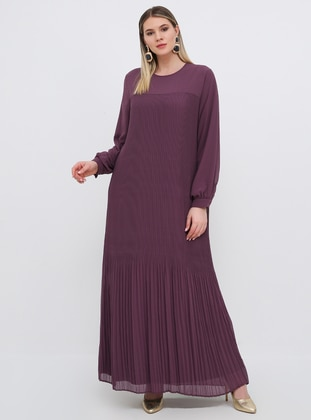 Purple - Fully Lined - Crew neck - Muslim Plus Size Evening Dress - Alia