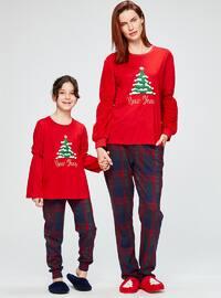 Red - Crew neck - Multi - Pyjama