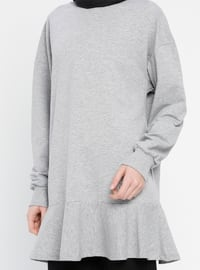 Gray - Crew neck - Tracksuit Top