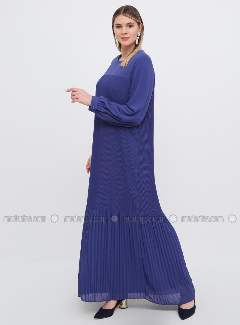 Saxe - Indigo - Fully Lined - Crew neck - Muslim Plus Size Evening Dress